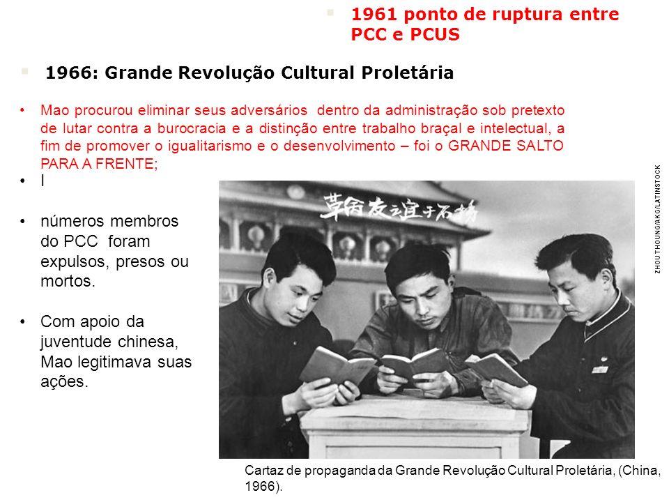 ZHOU THOUNG/AKG/LATINSTOCK Cartaz de propaganda da Grande Revolução Cultural Proletária, (China, 1966). 1966: Grande Revolução Cultural Proletária Mao