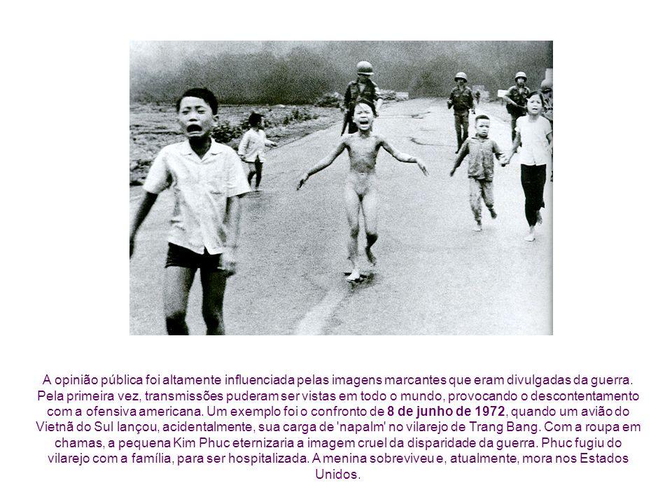 A opinião pública foi altamente influenciada pelas imagens marcantes que eram divulgadas da guerra. Pela primeira vez, transmissões puderam ser vistas