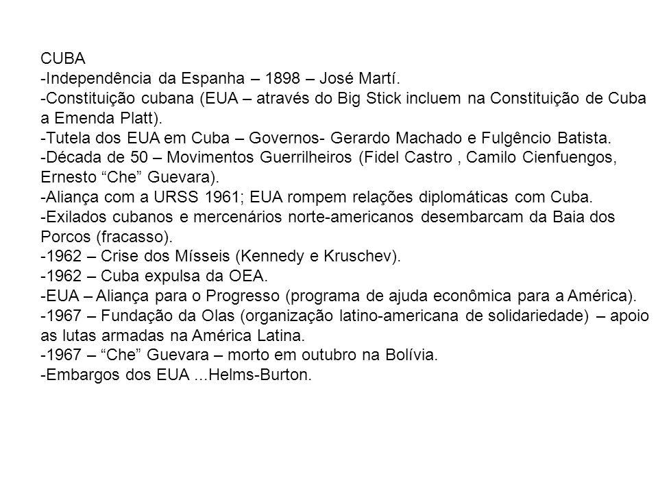 CUBA -Independência da Espanha – 1898 – José Martí. -Constituição cubana (EUA – através do Big Stick incluem na Constituição de Cuba a Emenda Platt).