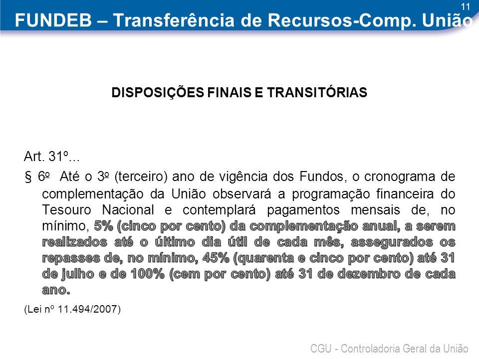 11 CGU - Controladoria Geral da União FUNDEB – Transferência de Recursos-Comp. União