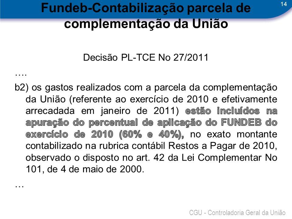 14 CGU - Controladoria Geral da União Fundeb-Contabilização parcela de complementação da União