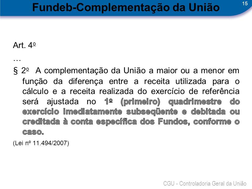 15 CGU - Controladoria Geral da União Fundeb-Complementação da União