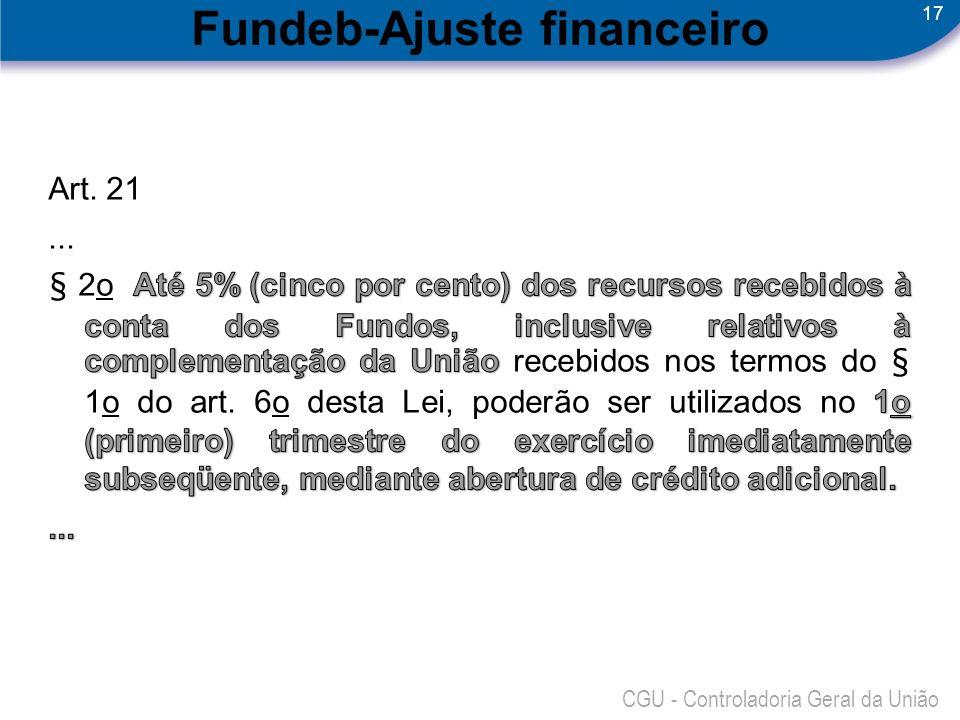 17 CGU - Controladoria Geral da União Fundeb-Ajuste financeiro