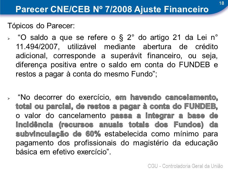 18 CGU - Controladoria Geral da União Parecer CNE/CEB Nº 7/2008 Ajuste Financeiro