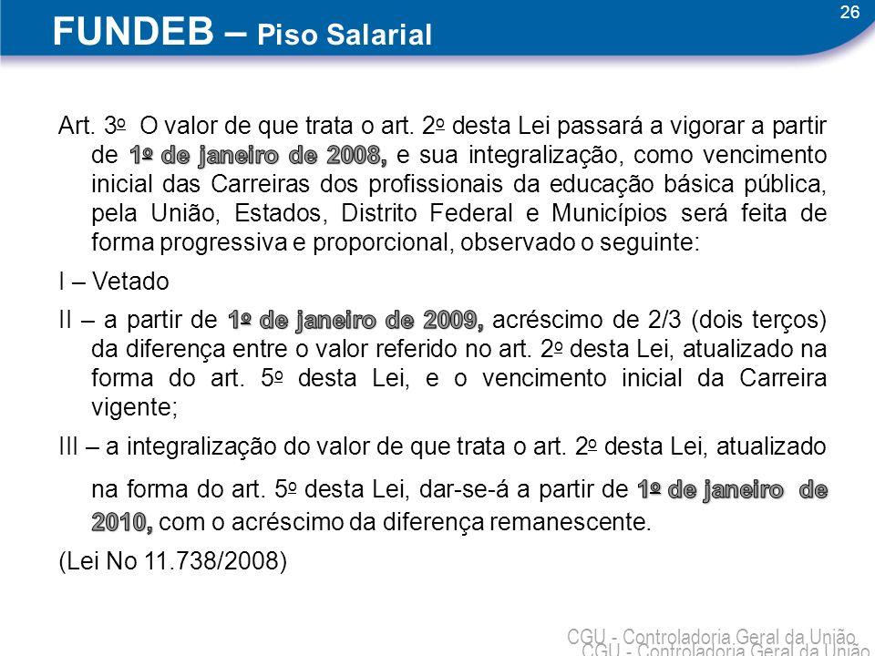 26 CGU - Controladoria Geral da União FUNDEB – Piso Salarial