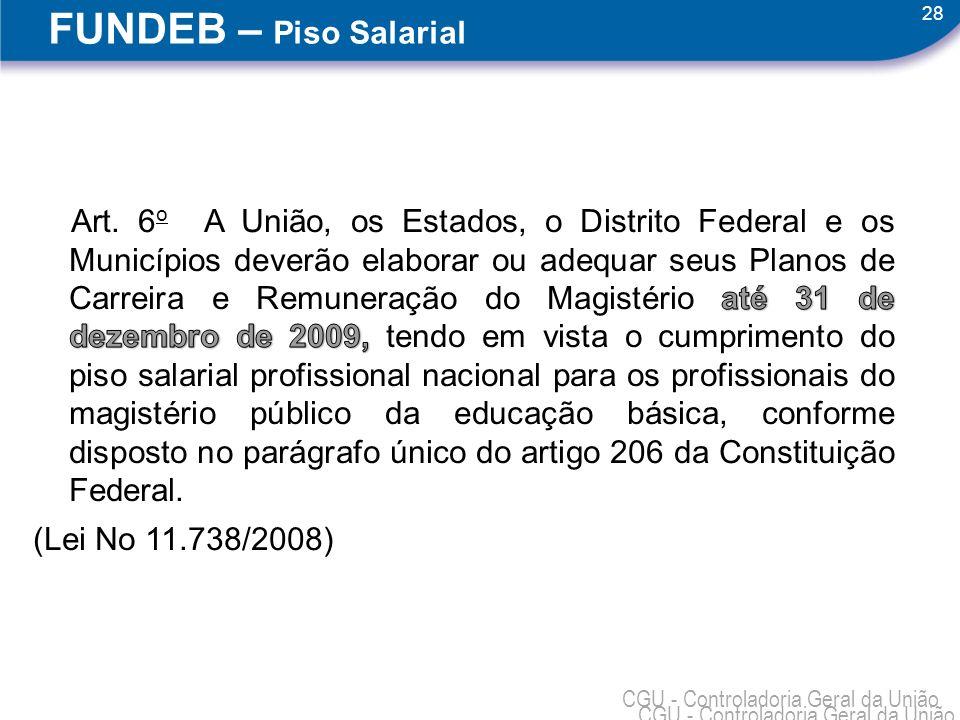 28 CGU - Controladoria Geral da União FUNDEB – Piso Salarial