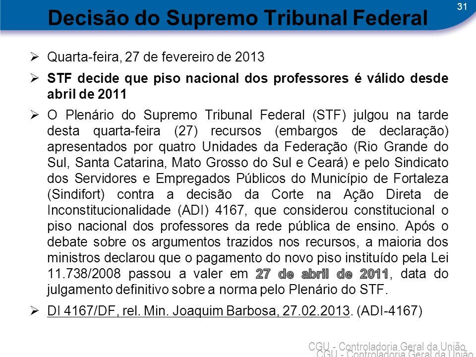31 CGU - Controladoria Geral da União Decisão do Supremo Tribunal Federal