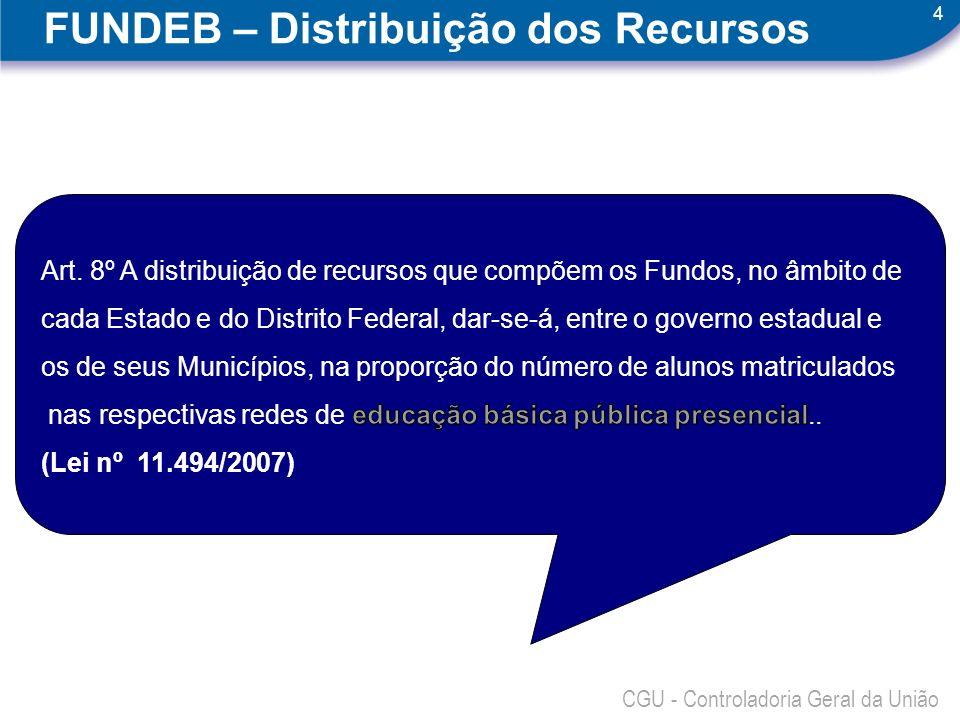 4 CGU - Controladoria Geral da União FUNDEB – Distribuição dos Recursos