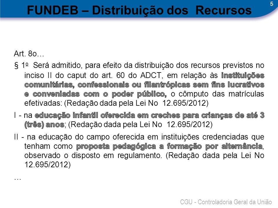 5 CGU - Controladoria Geral da União FUNDEB – Distribuição dos Recursos