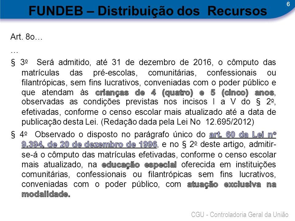 6 CGU - Controladoria Geral da União FUNDEB – Distribuição dos Recursos