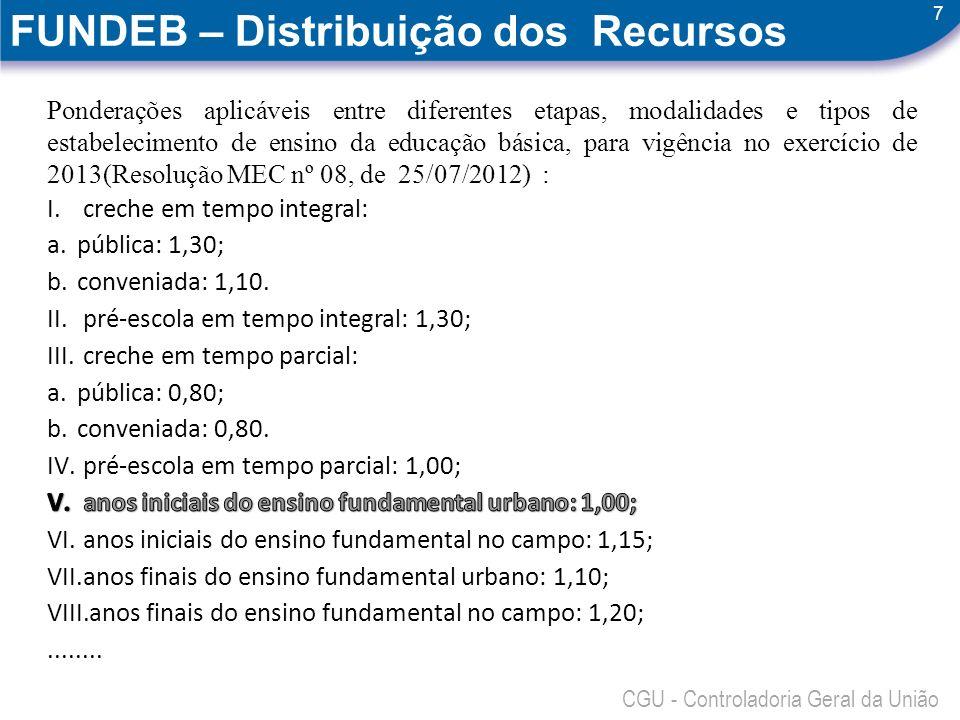 7 CGU - Controladoria Geral da União FUNDEB – Distribuição dos Recursos