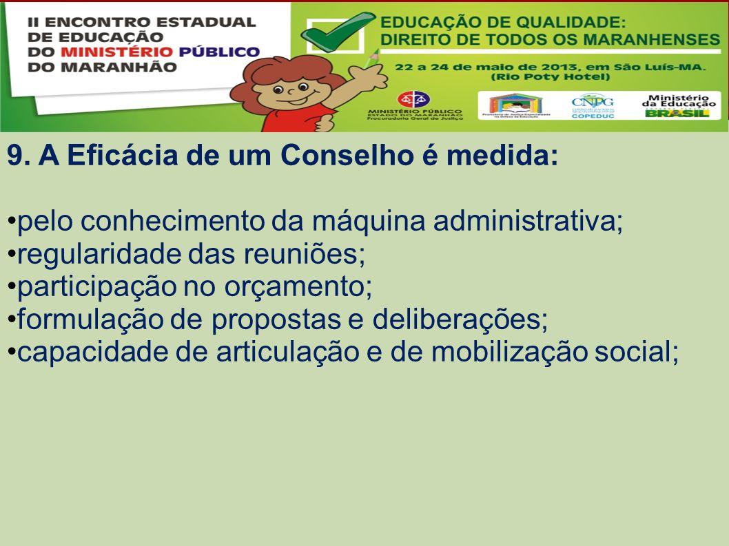 9. A Eficácia de um Conselho é medida: pelo conhecimento da máquina administrativa; regularidade das reuniões; participação no orçamento; formulação d