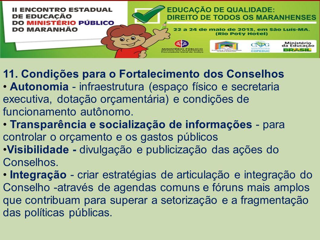 11. Condições para o Fortalecimento dos Conselhos Autonomia - infraestrutura (espaço físico e secretaria executiva, dotação orçamentária) e condições