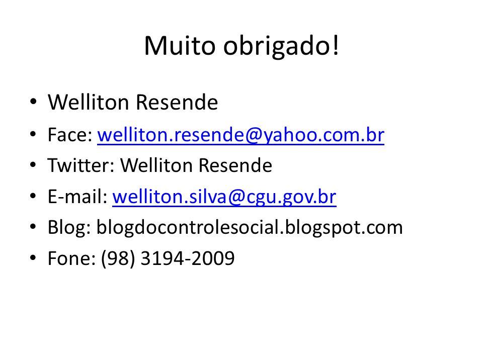 Muito obrigado! Welliton Resende Face: welliton.resende@yahoo.com.brwelliton.resende@yahoo.com.br Twitter: Welliton Resende E-mail: welliton.silva@cgu