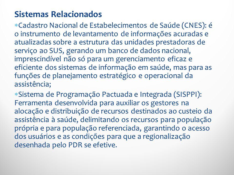 Sistemas Relacionados Cadastro Nacional de Estabelecimentos de Saúde (CNES): é o instrumento de levantamento de informações acuradas e atualizadas sob