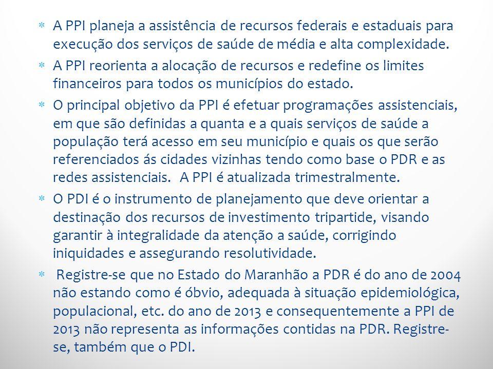A PPI planeja a assistência de recursos federais e estaduais para execução dos serviços de saúde de média e alta complexidade. A PPI reorienta a aloca