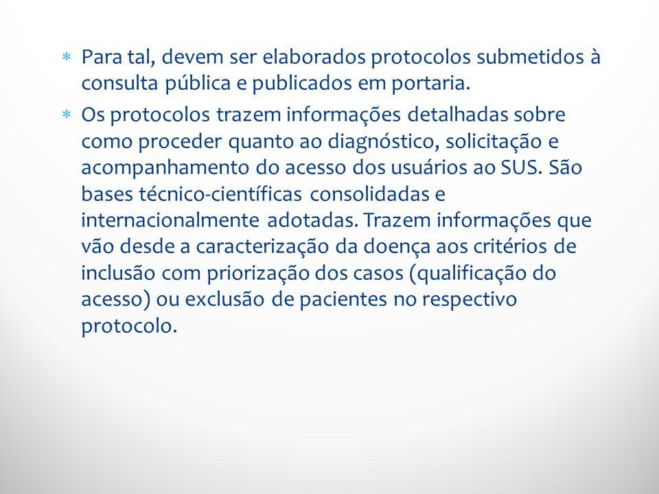 Para tal, devem ser elaborados protocolos submetidos à consulta pública e publicados em portaria. Os protocolos trazem informações detalhadas sobre co