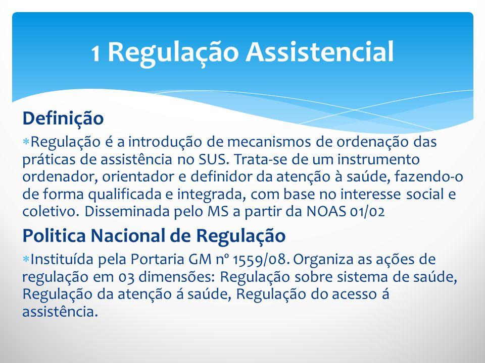 Definição Regulação é a introdução de mecanismos de ordenação das práticas de assistência no SUS. Trata-se de um instrumento ordenador, orientador e d