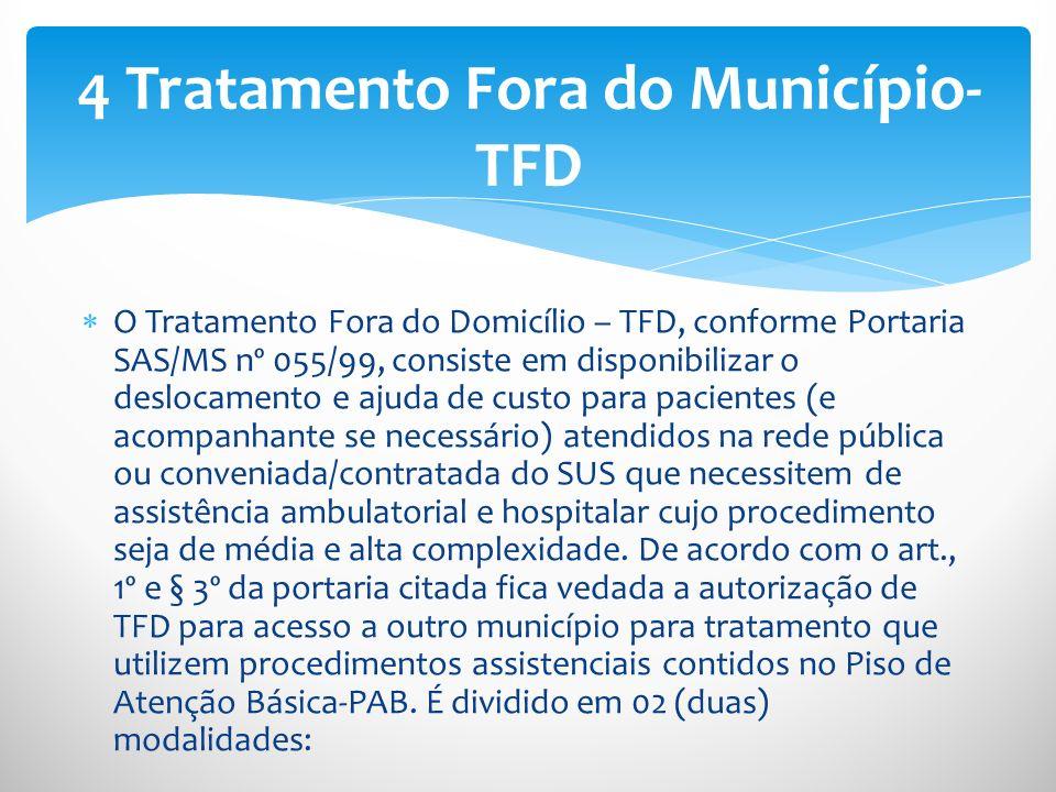 O Tratamento Fora do Domicílio – TFD, conforme Portaria SAS/MS nº 055/99, consiste em disponibilizar o deslocamento e ajuda de custo para pacientes (e