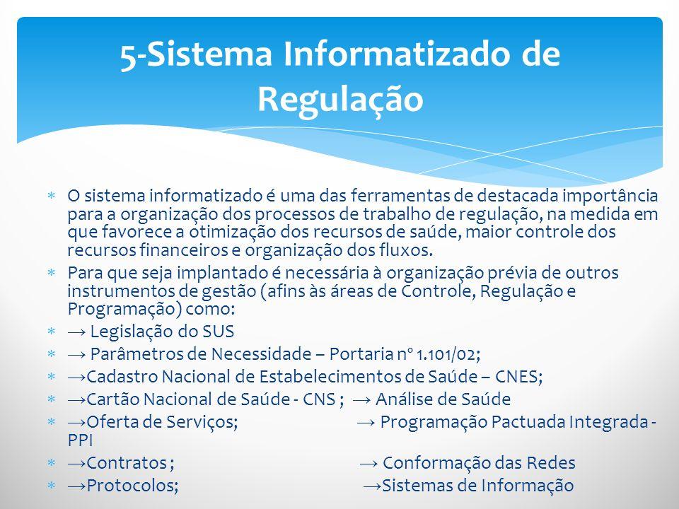 O sistema informatizado é uma das ferramentas de destacada importância para a organização dos processos de trabalho de regulação, na medida em que fav