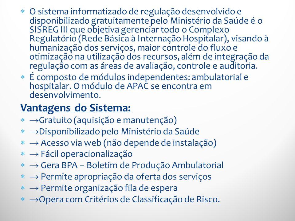 O sistema informatizado de regulação desenvolvido e disponibilizado gratuitamente pelo Ministério da Saúde é o SISREG III que objetiva gerenciar todo
