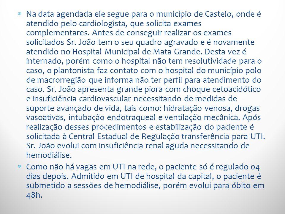 Na data agendada ele segue para o município de Castelo, onde é atendido pelo cardiologista, que solicita exames complementares. Antes de conseguir rea
