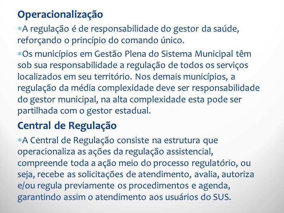 Operacionalização A regulação é de responsabilidade do gestor da saúde, reforçando o princípio do comando único. Os municípios em Gestão Plena do Sist