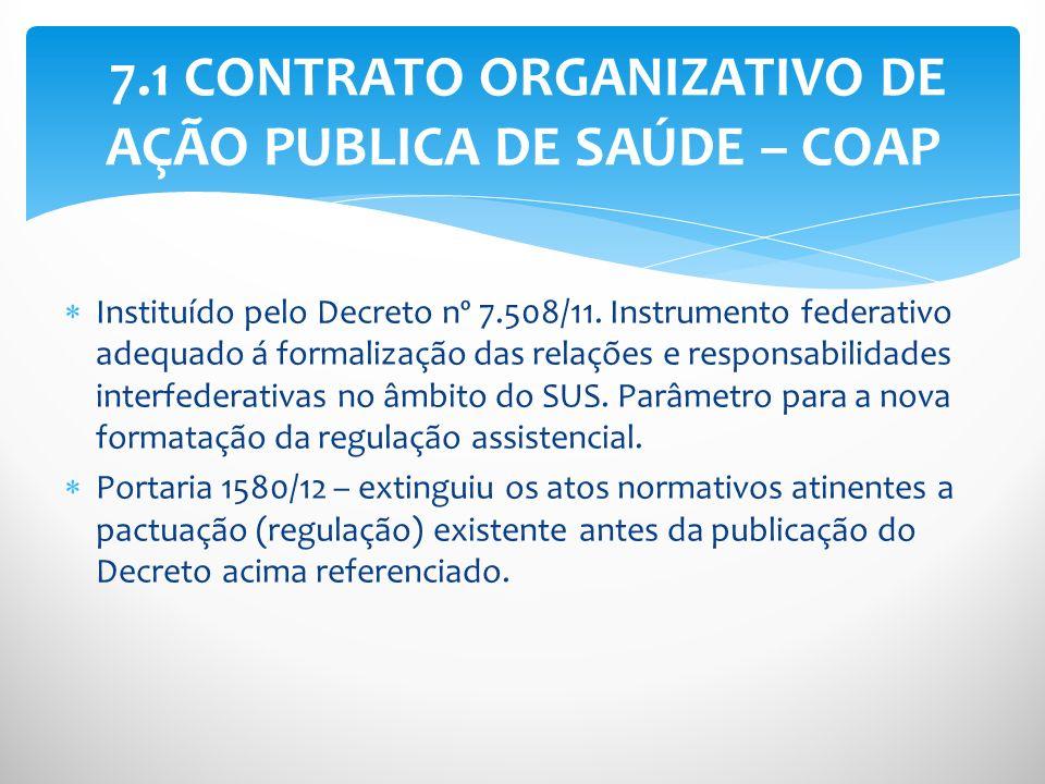 Instituído pelo Decreto nº 7.508/11. Instrumento federativo adequado á formalização das relações e responsabilidades interfederativas no âmbito do SUS