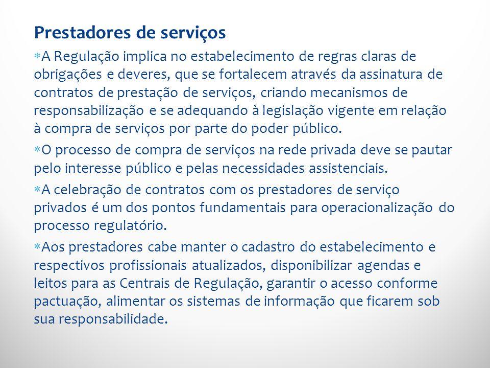 Prestadores de serviços A Regulação implica no estabelecimento de regras claras de obrigações e deveres, que se fortalecem através da assinatura de co