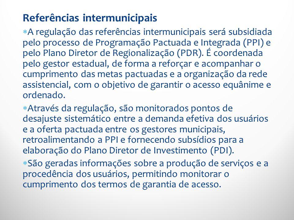Referências intermunicipais A regulação das referências intermunicipais será subsidiada pelo processo de Programação Pactuada e Integrada (PPI) e pelo