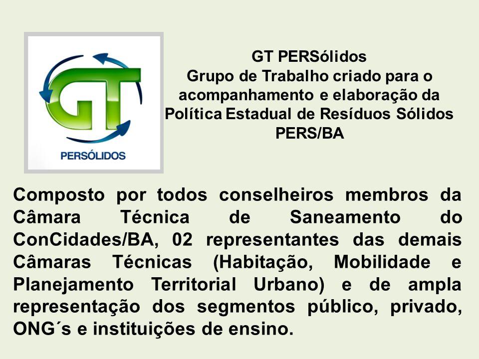 GT PERSólidos Grupo de Trabalho criado para o acompanhamento e elaboração da Política Estadual de Resíduos Sólidos PERS/BA Composto por todos conselhe