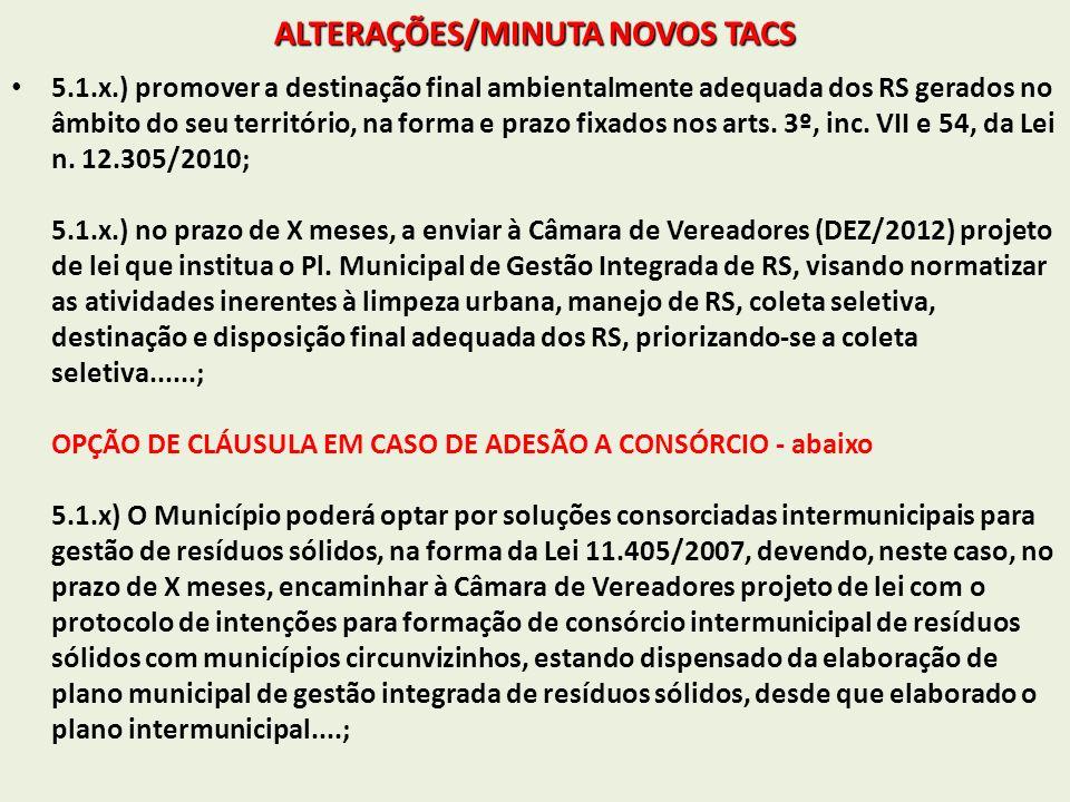 ALTERAÇÕES/MINUTA NOVOS TACS 5.1.x.) promover a destinação final ambientalmente adequada dos RS gerados no âmbito do seu território, na forma e prazo