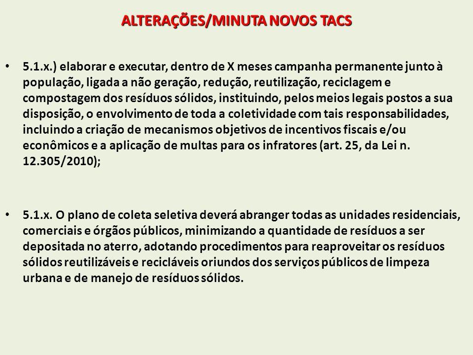 ALTERAÇÕES/MINUTA NOVOS TACS 5.1.x.) elaborar e executar, dentro de X meses campanha permanente junto à população, ligada a não geração, redução, reut
