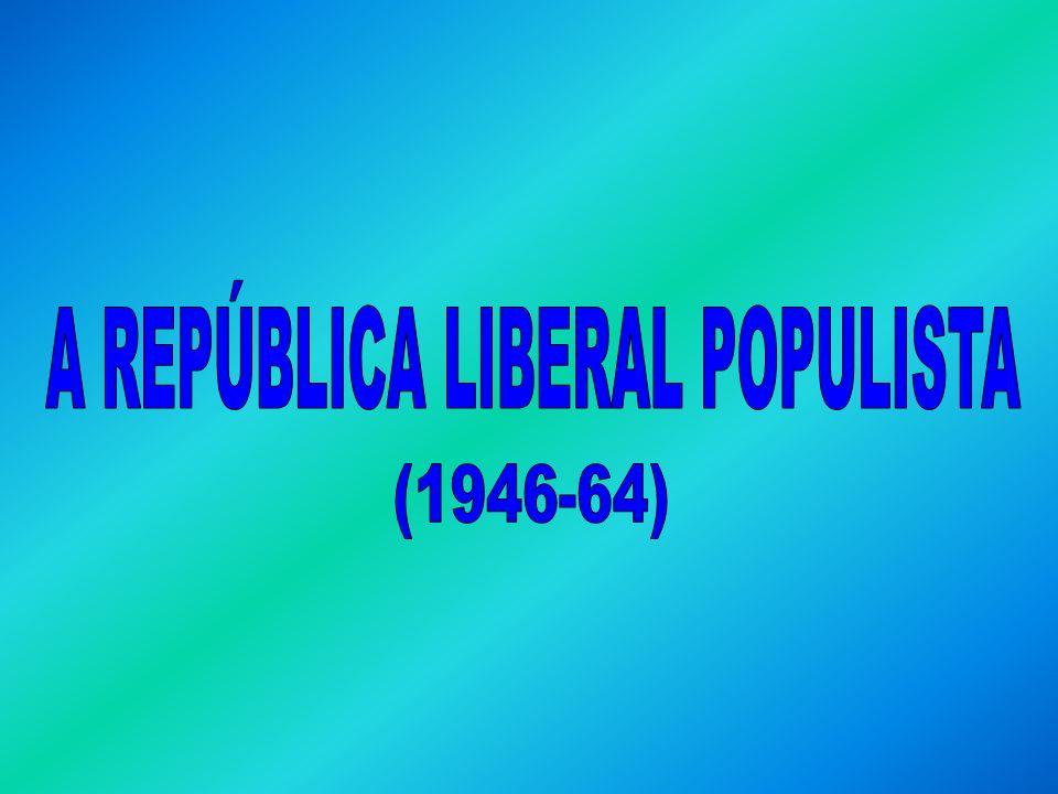 História A REPÚBLICA LIBERAL POPULISTA (1946 – 1964): Eurico Dutra – PSD (1946 – 1951): Eleito com o apoio do PTB e de Getúlio Vargas: Ele disse: para presidente vote Dutra.