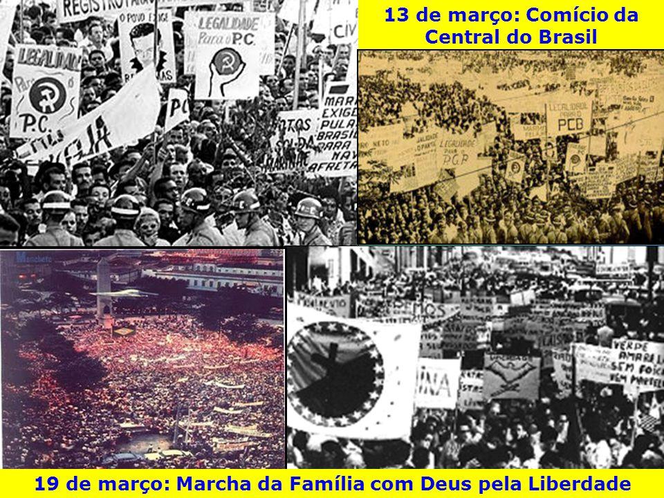 13 de março: Comício da Central do Brasil 19 de março: Marcha da Família com Deus pela Liberdade
