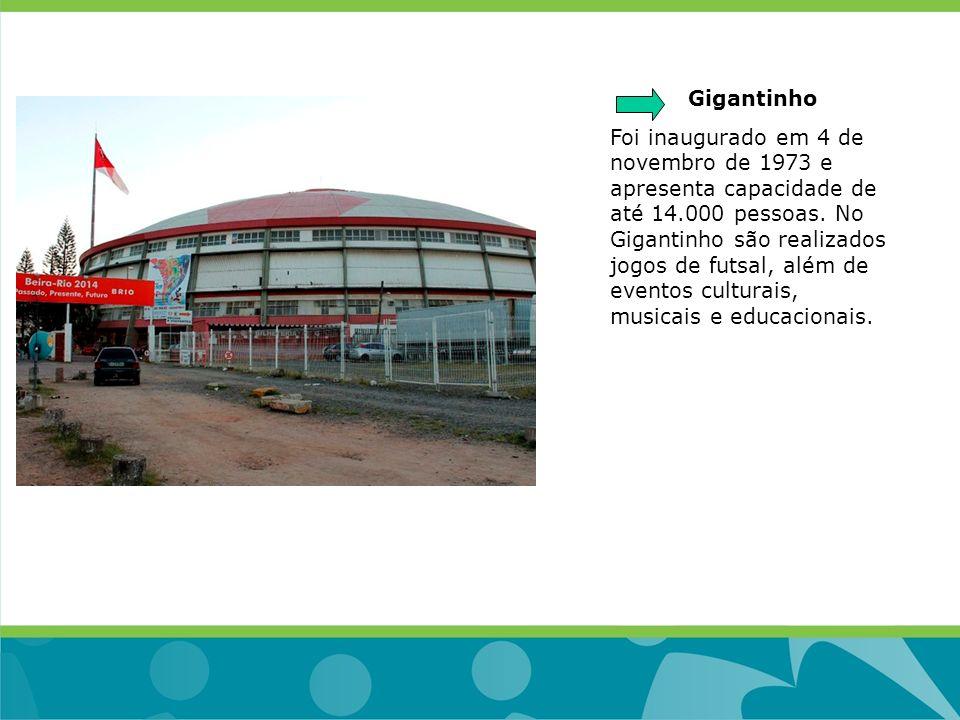 Gigantinho Foi inaugurado em 4 de novembro de 1973 e apresenta capacidade de até 14.000 pessoas. No Gigantinho são realizados jogos de futsal, além de