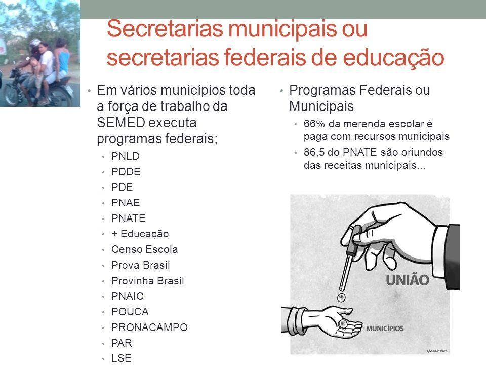 Secretarias municipais ou secretarias federais de educação Em vários municípios toda a força de trabalho da SEMED executa programas federais; PNLD PDD