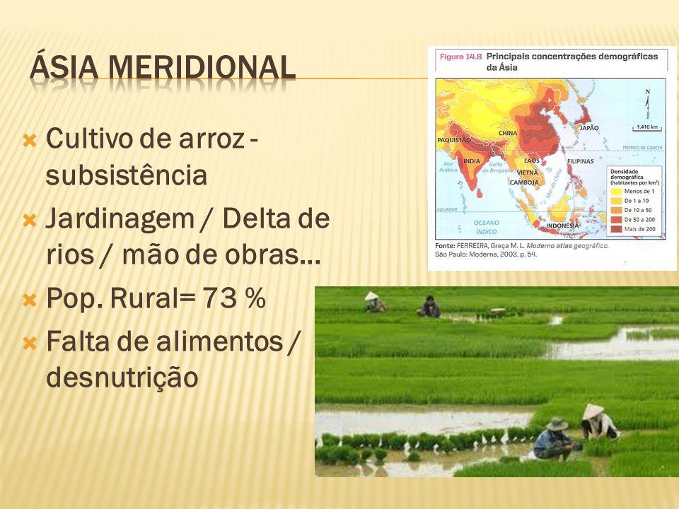 Cultivo de arroz - subsistência Jardinagem / Delta de rios / mão de obras... Pop. Rural= 73 % Falta de alimentos / desnutrição
