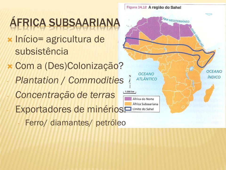Início= agricultura de subsistência Com a (Des)Colonização? - Plantation / Commodities - Concentração de terras - Exportadores de minérios: - Ferro/ d