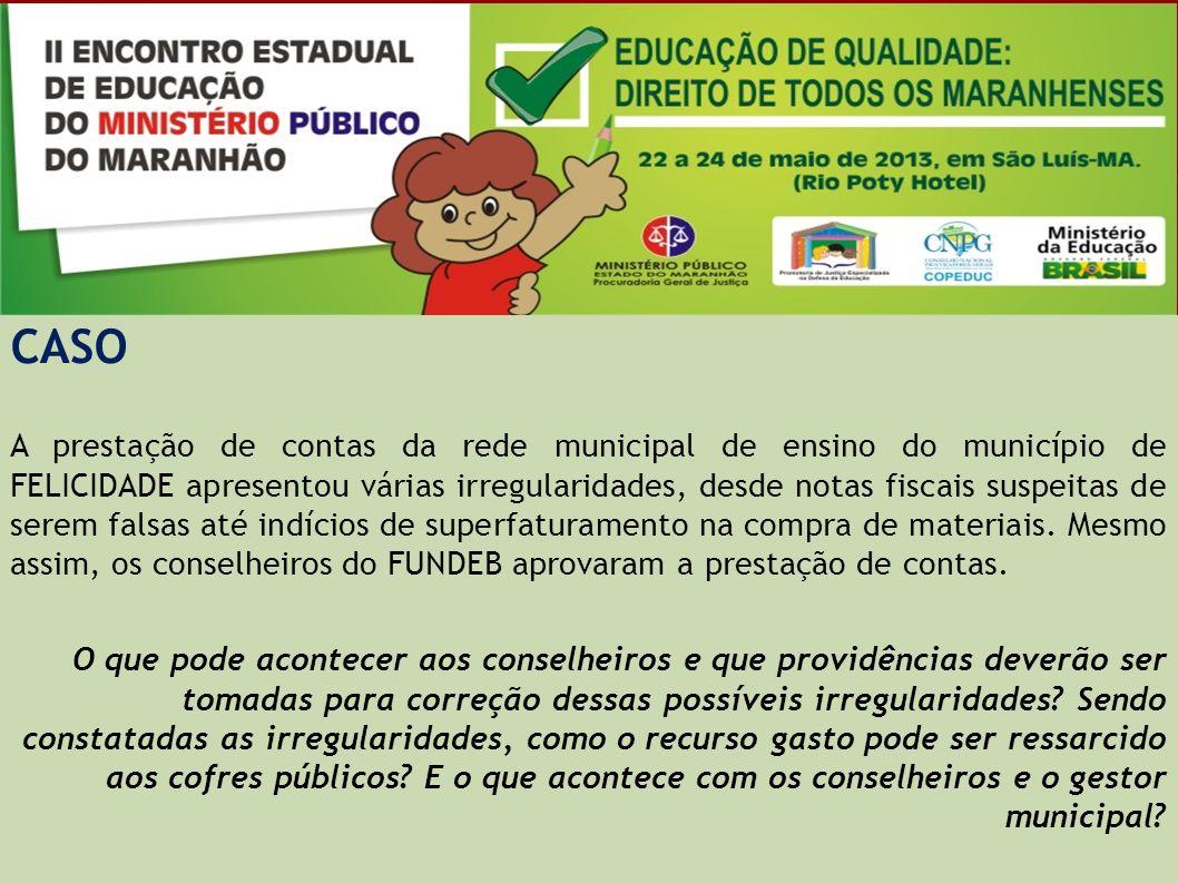 CASO No município de FELICIDADE, o Conselho de Alimentação Escolar foi criado, mas não funciona corretamente devido às instalações precárias e falta de capacitação dos seus membros.