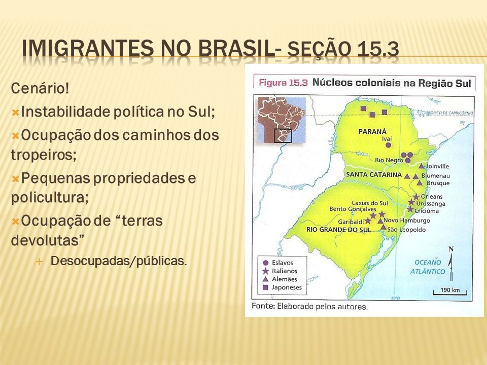 Cenário! Instabilidade política no Sul; Ocupação dos caminhos dos tropeiros; Pequenas propriedades e policultura; Ocupação de terras devolutas Desocup