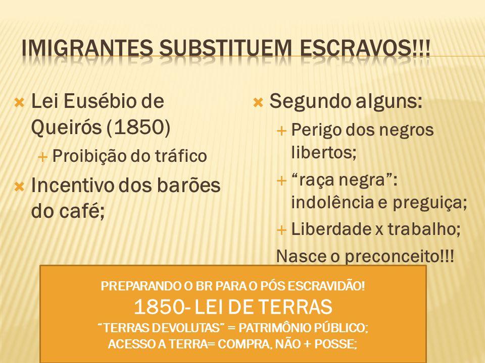 Lei Eusébio de Queirós (1850) Proibição do tráfico Incentivo dos barões do café; Segundo alguns: Perigo dos negros libertos; raça negra: indolência e