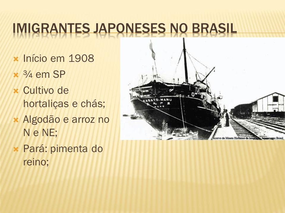 Início em 1908 ¾ em SP Cultivo de hortaliças e chás; Algodão e arroz no N e NE; Pará: pimenta do reino;