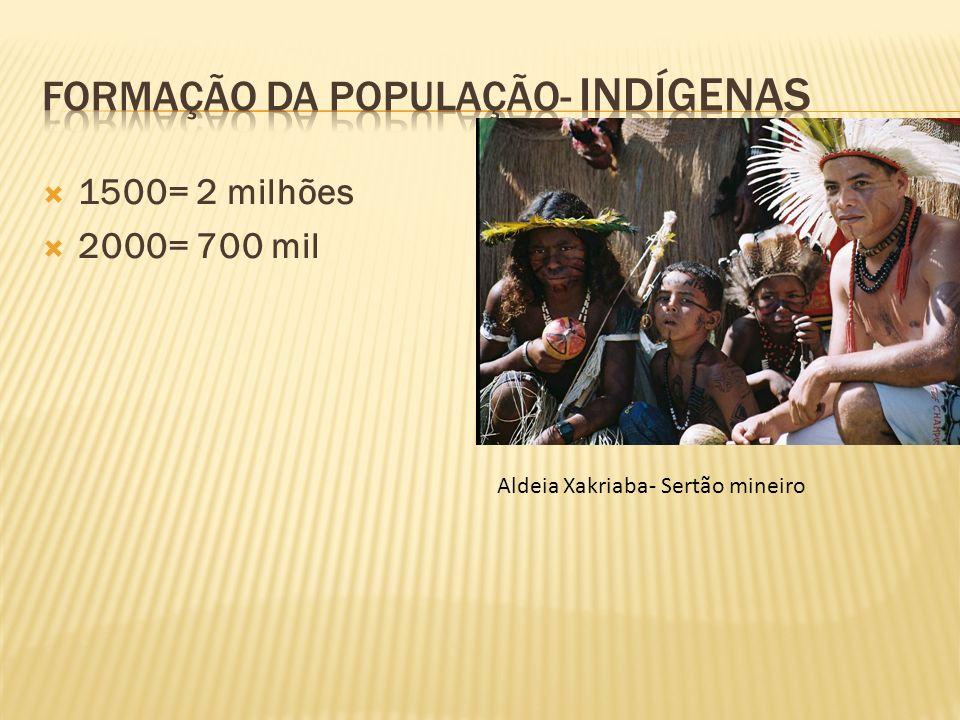 1500= 2 milhões 2000= 700 mil Aldeia Xakriaba- Sertão mineiro