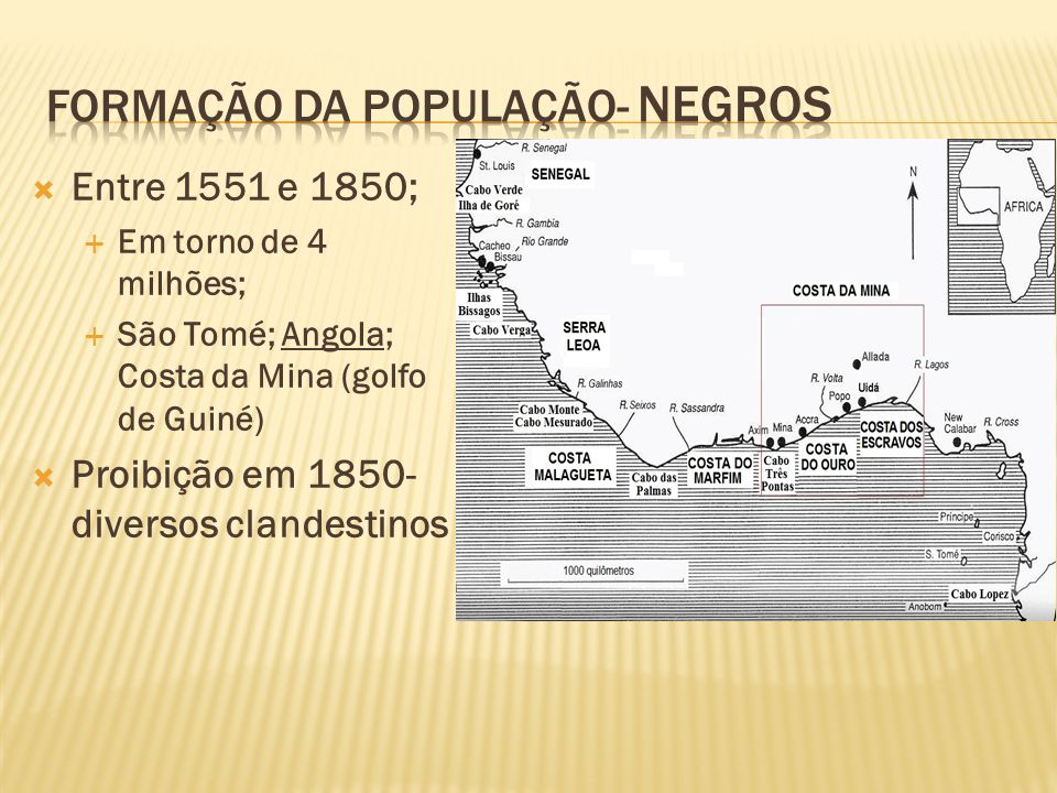 Entre 1551 e 1850; Em torno de 4 milhões; São Tomé; Angola; Costa da Mina (golfo de Guiné) Proibição em 1850- diversos clandestinos