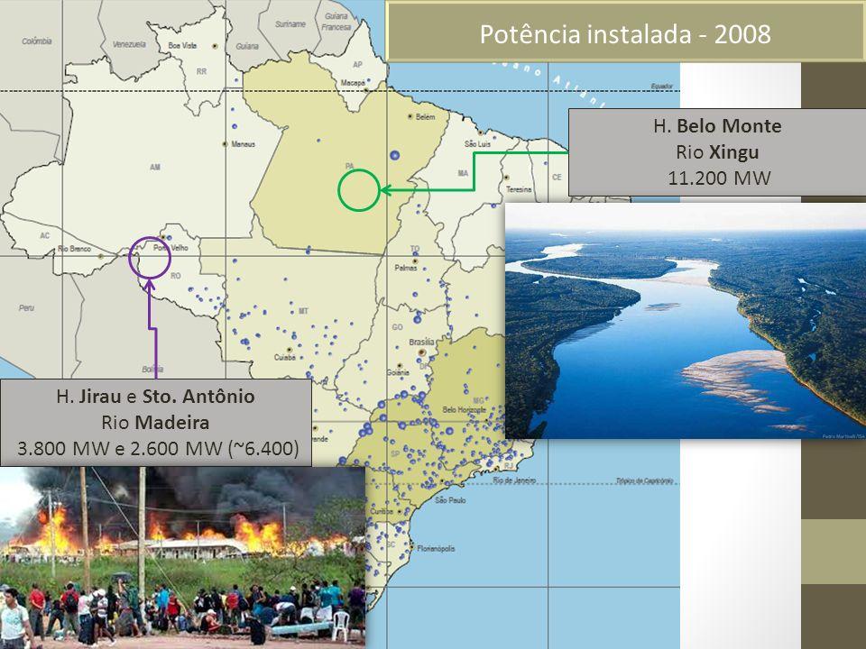 Potência instalada - 2008 H. Jirau e Sto. Antônio Rio Madeira 3.800 MW e 2.600 MW (~6.400) H. Belo Monte Rio Xingu 11.200 MW