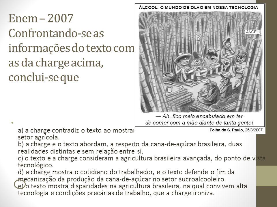 Enem – 2007 Confrontando-se as informações do texto com as da charge acima, conclui-se que a) a charge contradiz o texto ao mostrar que o Brasil possu
