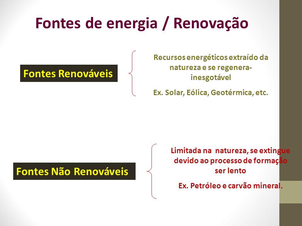 Fontes de energia / Renovação Fontes Renováveis Recursos energéticos extraído da natureza e se regenera- inesgotável Ex. Solar, Eólica, Geotérmica, et