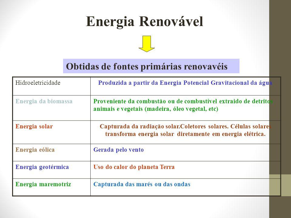 Energia Renovável HidroeletricidadeProduzida a partir da Energia Potencial Gravitacional da água Energia da biomassaProveniente da combustão ou de com