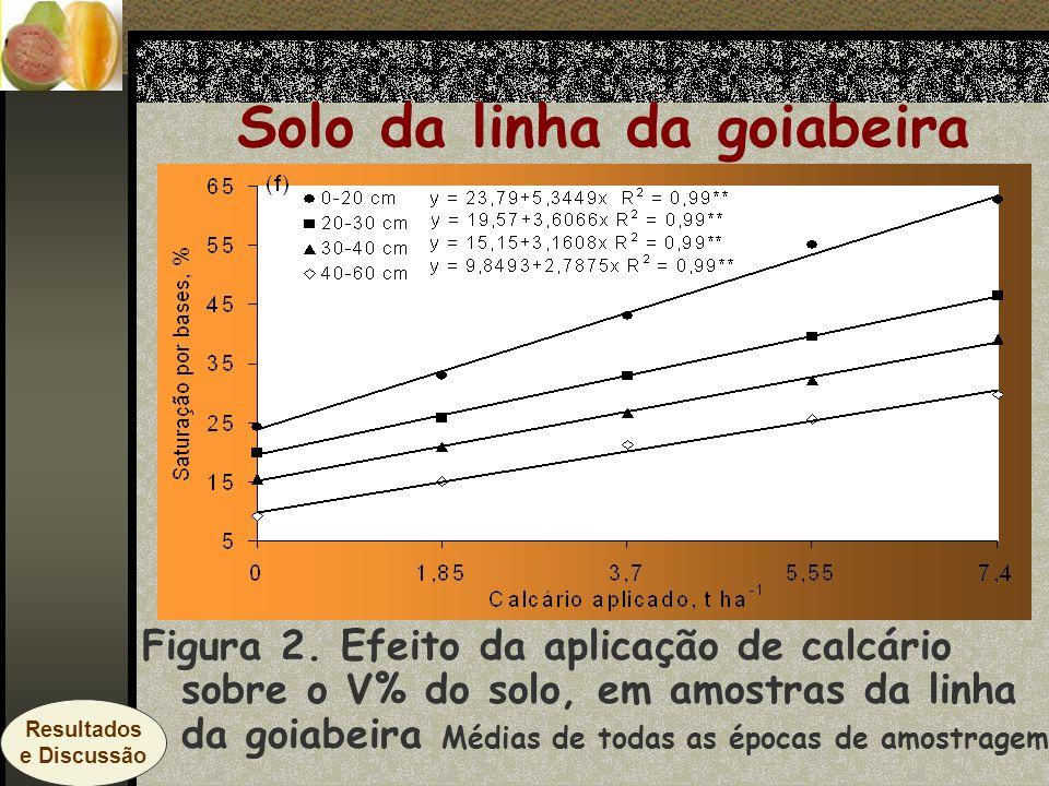 Solo da linha da goiabeira Figura 2. Efeito da aplicação de calcário sobre o V% do solo, em amostras da linha da goiabeira Médias de todas as épocas d